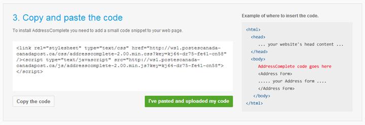 AddressComplete Copy Code