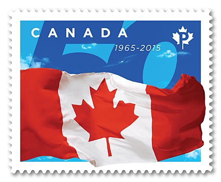 canadas flag, 50th anniversary | canada post