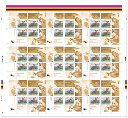 Uncut press sheet of 9 panes of 4 stamps