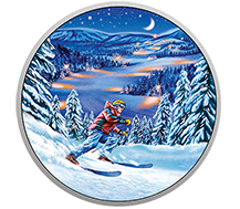 2017 $15 Pure Silver Coin - Great Canadian Outdoors: Night Skiing