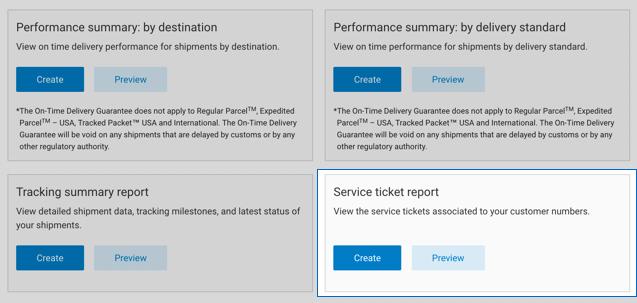 Create a service ticket report | Canada Post