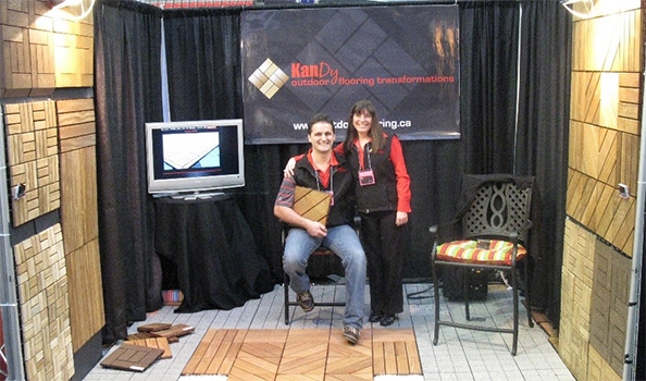 Kelly and Doug Niessen launch KANDY outdoor flooring at the B.C. Home Show