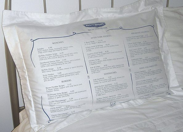 Pillowcase with their menu printed on it
