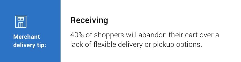 Merchant delivery tip: Receiving. 40% of shoppers will abandon their cart over a lack of flexible delivery or pickup options.