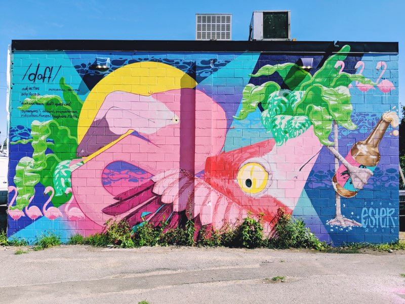 A colourful mural outside Daft Brewing's West-coast style taproom and brewery.