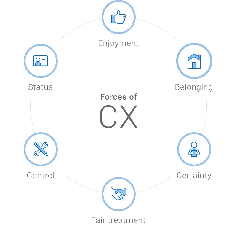 Forces of CX: enjoyment, belonging, certainty, fair treatment, control and status.