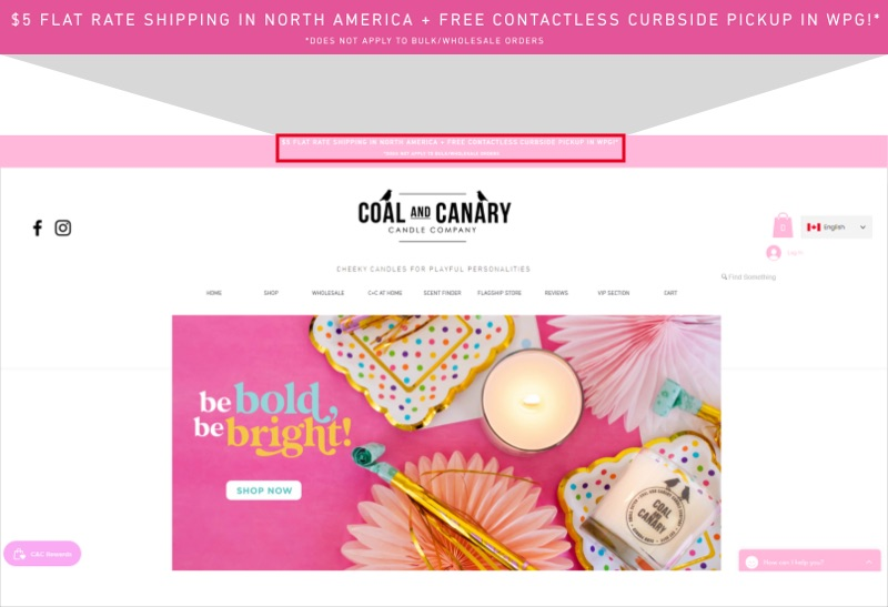 Coal and Canary's website promotes $5 flat rate shipping in North America and free contactless curbside pickup in Winnipeg.