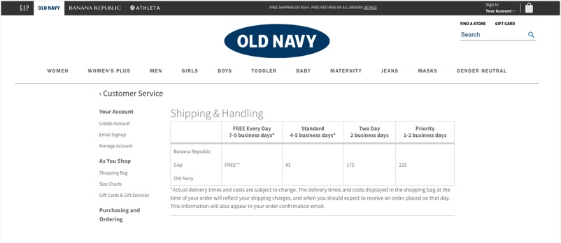 Old Navy's website features a chart that outlines shipping and handling cost and delivery ETA options for their customers.