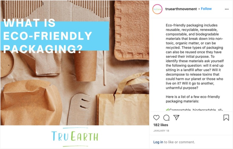 An Instagram post from TruEarth defines eco-friendly packaging and shares a list of eco-friendly packaging materials.