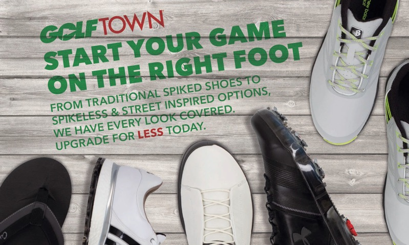 Direct mail piece for Golf Town featuring their line of footwear.