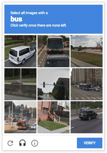 """A CAPTCHA grid of 9 images that says """"Select all images with a bus. Click verify one there are none left."""""""