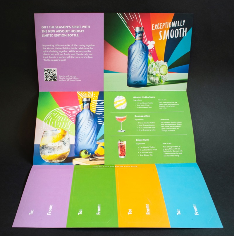 """A direct mail piece for Absolut Vodka. """"Gift the season's spirit with the new Absolut holiday limited edition bottle."""""""