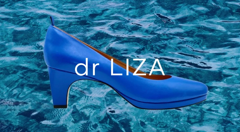 An ad for Dr. LIZA shoes featuring a blue high heel shoe