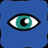 A green eyeball on a blue background.