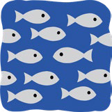 A school of fish swim in one direction. One fish swims in the opposite direction.