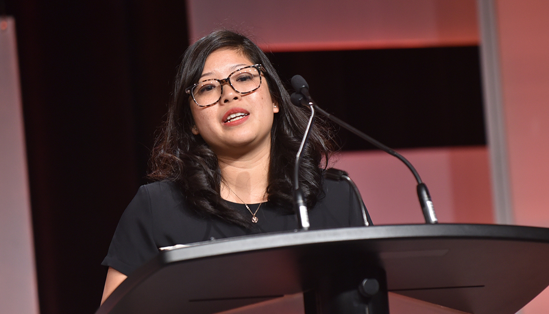 Jessica Ching, Co-founder and CEO of Eve Medical, proudly accepted the Social Impact Award.