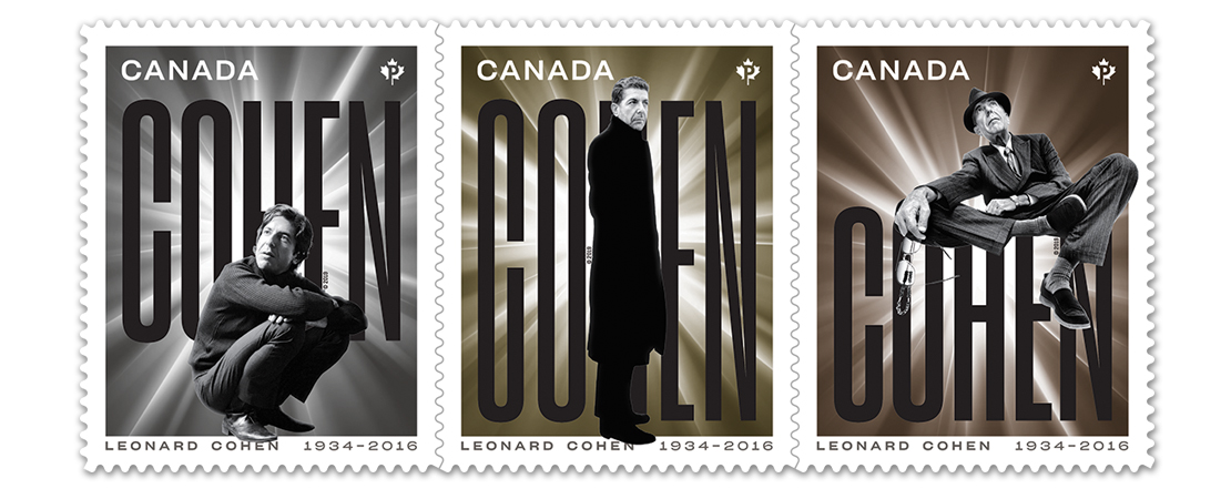 Three collectible Canada Post stamps featuring photographs of Leonard Cohen
