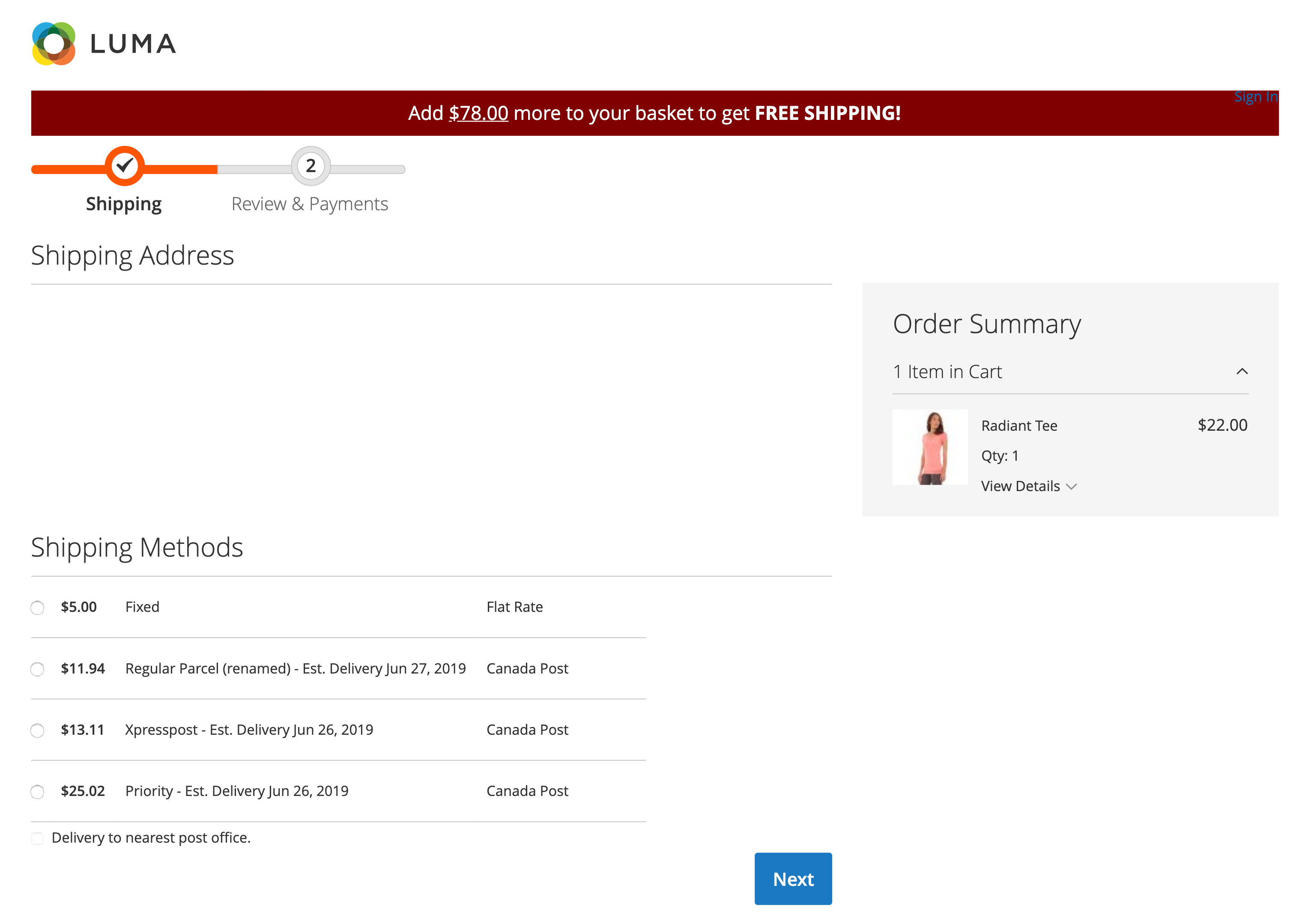 The checkout page for LUMA, an e-commerce store, displays shipping costs and delivery dates for the customer.