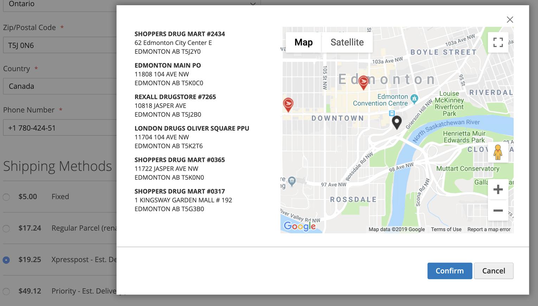 Saisie d'écran d'une page de paiement d'une boutique en ligne présentant plusieurs options du service Livrer au bureau de poste. (En anglais seulement)