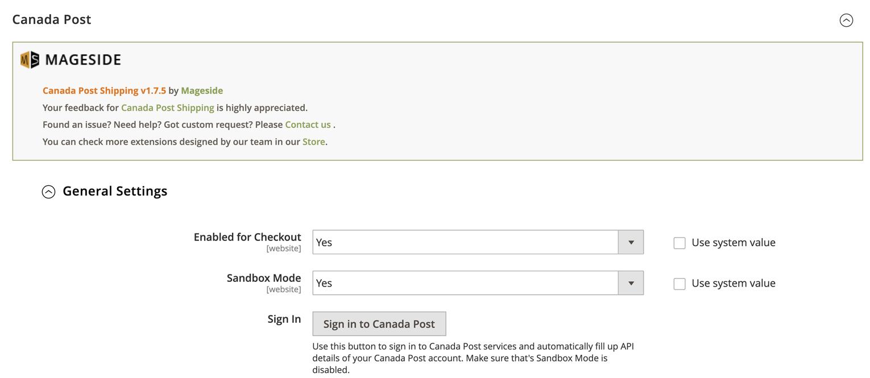 Une saisie d'écran du tableau de bord d'une boutique en ligne. L'utilisateur configure les paramètres généraux du module d'extension de Postes Canada dans Magento. (En anglais seulement)