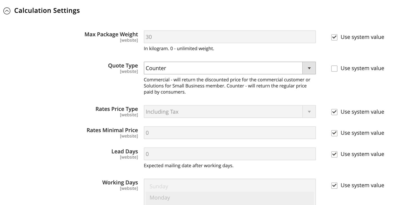 Une saisie d'écran du tableau de bord d'une boutique en ligne. L'utilisateur configure les tarifs du module d'extension de Postes Canada dans Magento. (En anglais seulement)