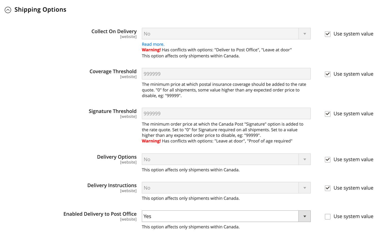 Une saisie d'écran du tableau de bord d'une boutique en ligne. L'utilisateur configure les options de livraison. (En anglais seulement)