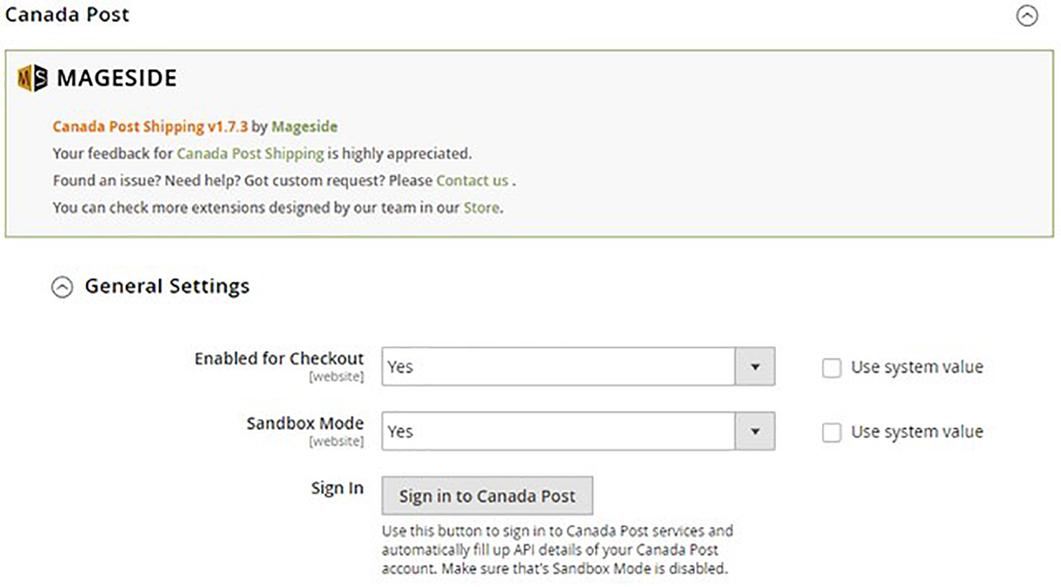 A screenshot of an online store dashboard. User is configuring the general settings for the Canada Post plugin within Magento.