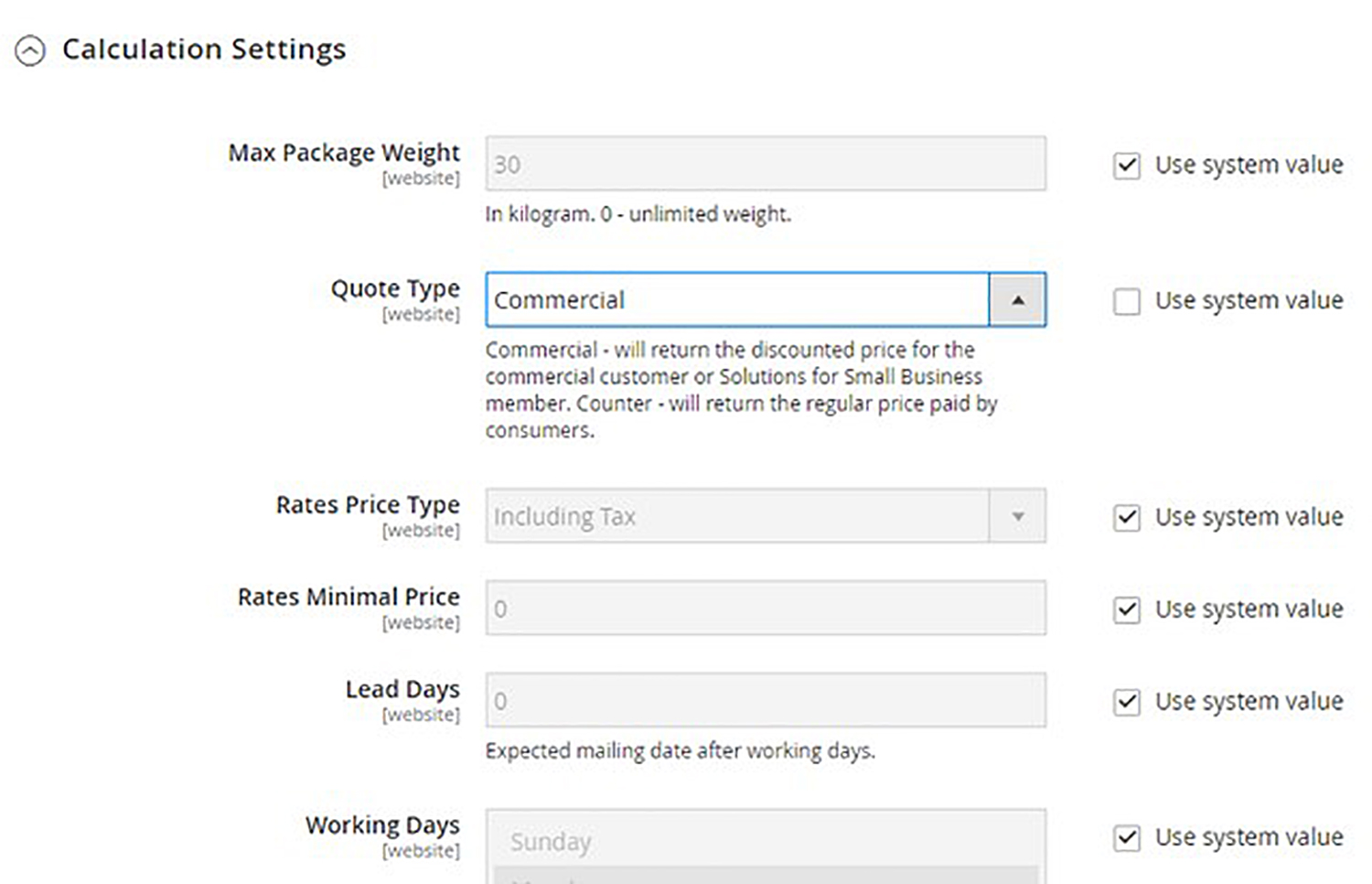 A screenshot of an online store dashboard. User is configuring rates for the Canada Post plugin within Magento.