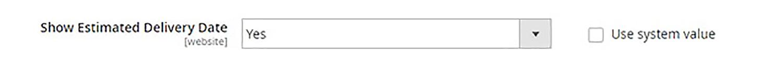 Une saisie d'écran du tableau de bord d'une boutique en ligne. L'utilisateur configure l'affichage de la date de livraison prévue sur la page de paiement. (En anglais seulement)