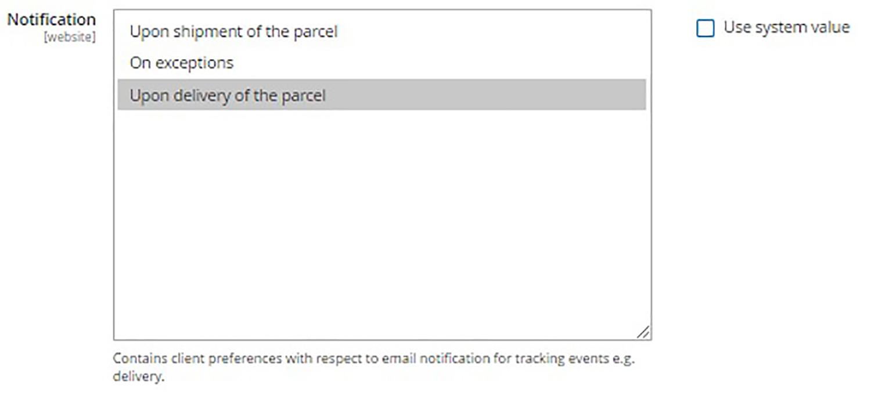 Une saisie d'écran du tableau de bord d'une boutique en ligne. L'utilisateur configure les options d'avis de livraison. (En anglais seulement)