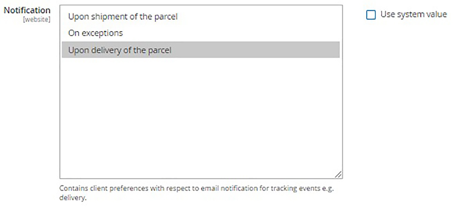A screenshot of an online store dashboard. User is configuring delivery notification options.