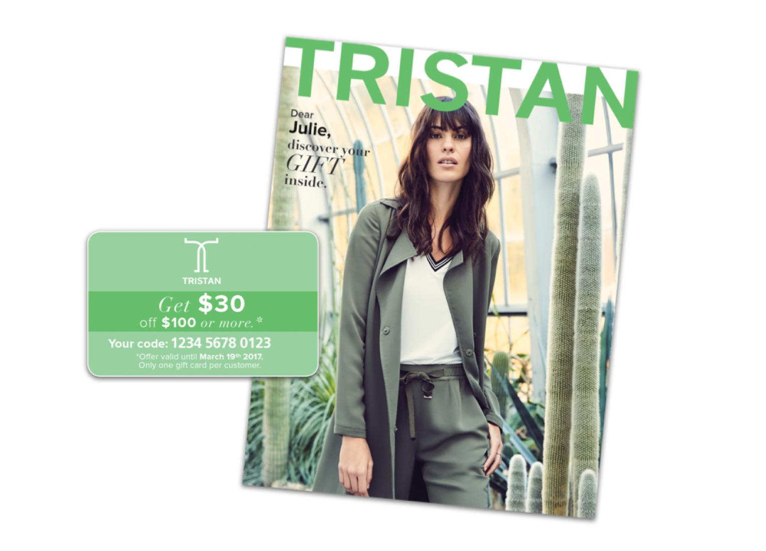 Exemple de catalogue de la marque de vêtements Tristan. (Envois de la campagne en anglais seulement.)