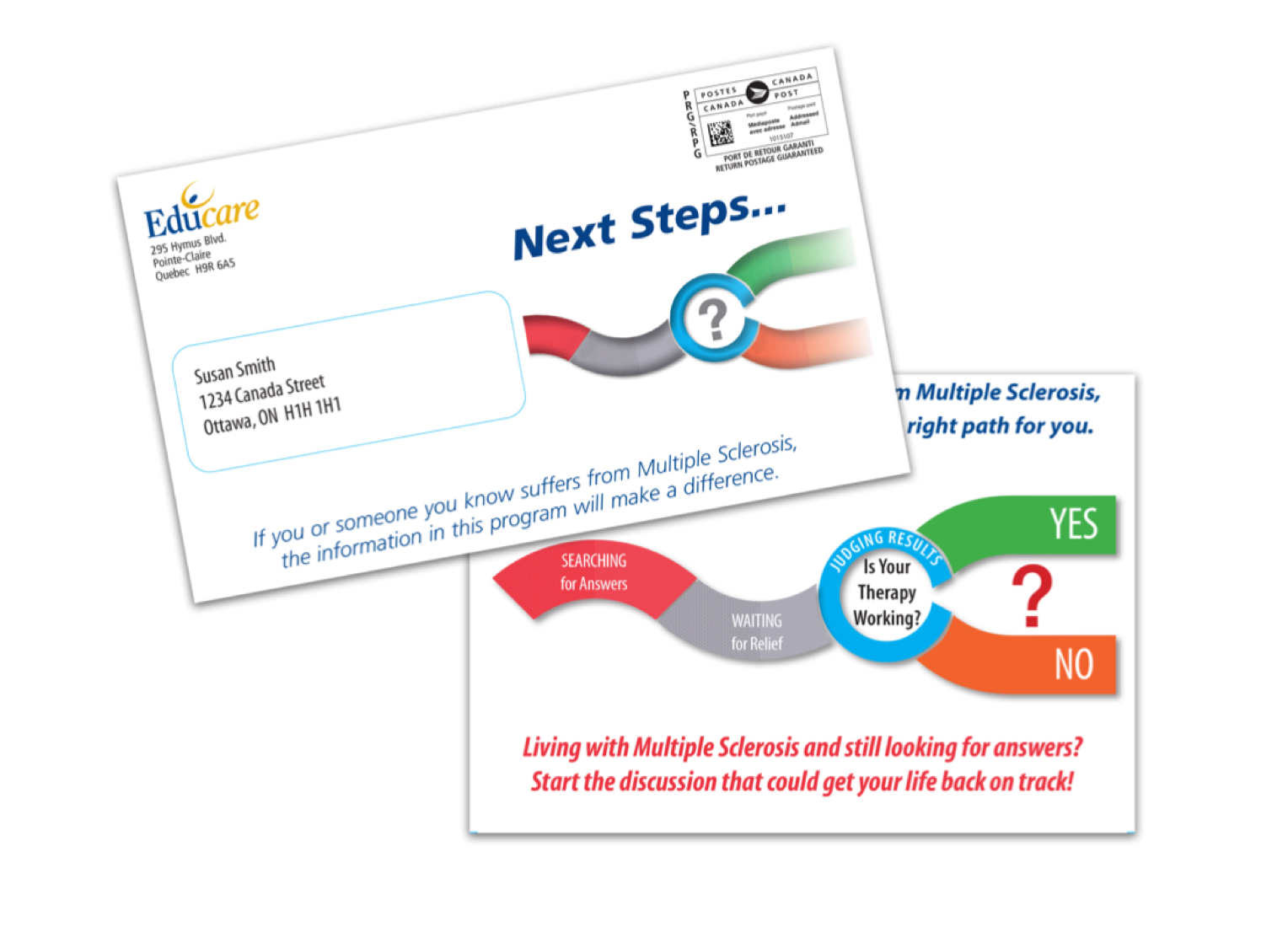 An example of an outer envelope and letter design from Educare.