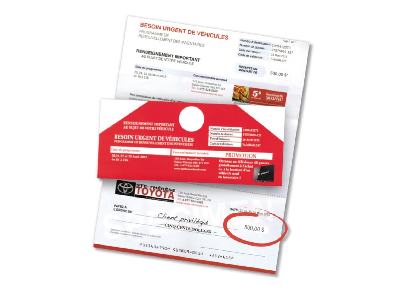 Exemple d'une enveloppe extérieure et d'une lettre de Toyota.