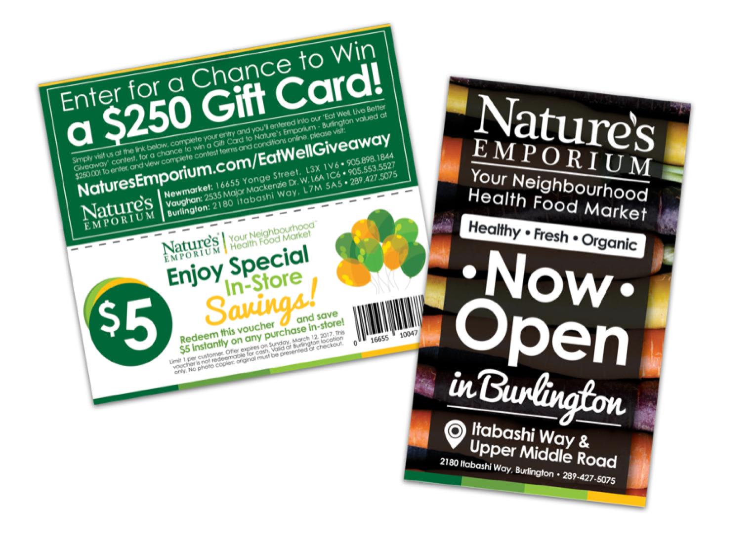 Exemples d'un envoi à découvert (coupon) et d'une carte postale de Nature's Emporium, un magasin d'aliments santé à Burlington, en Ontario. (Envois de la campagne en anglais seulement.)