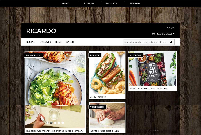 A screenshot of RICARDO's website featuring recipes, cookbooks, and food videos.