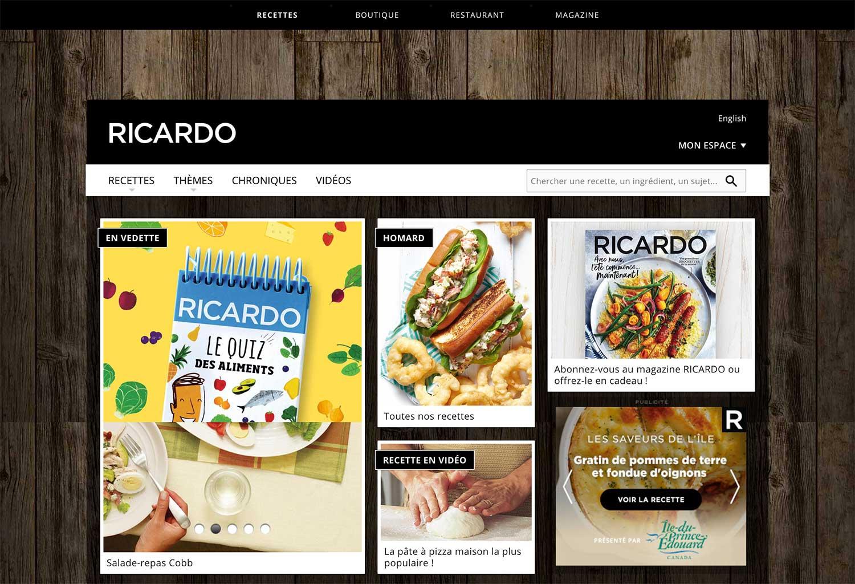 Une capture d'écran du site Web de RICARDO contenant des recettes, des livres de recettes et des vidéos de cuisine.