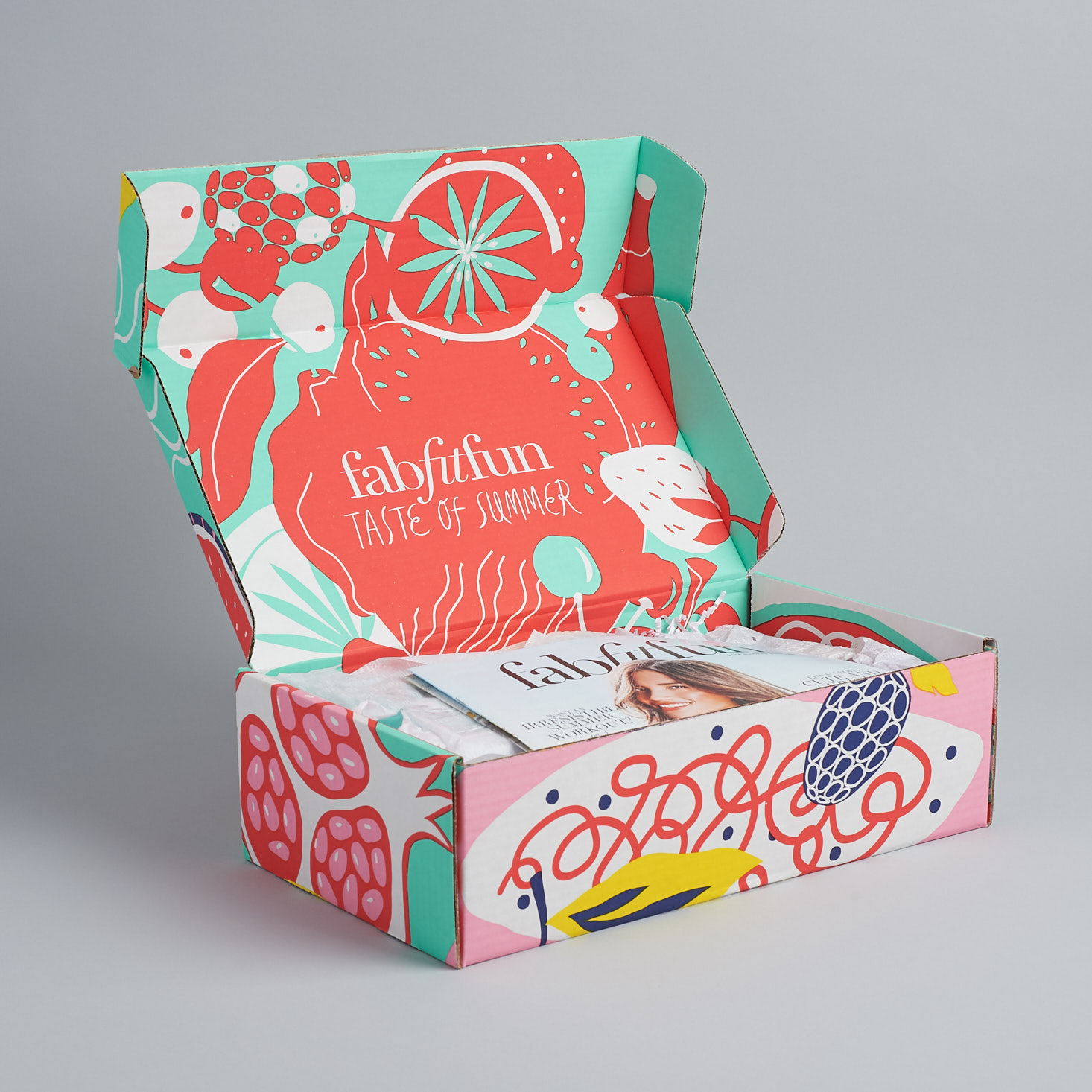 "An open ""Taste of Summer"" edition box from FabFitFun brand. Source: Ayumi Takahashi."