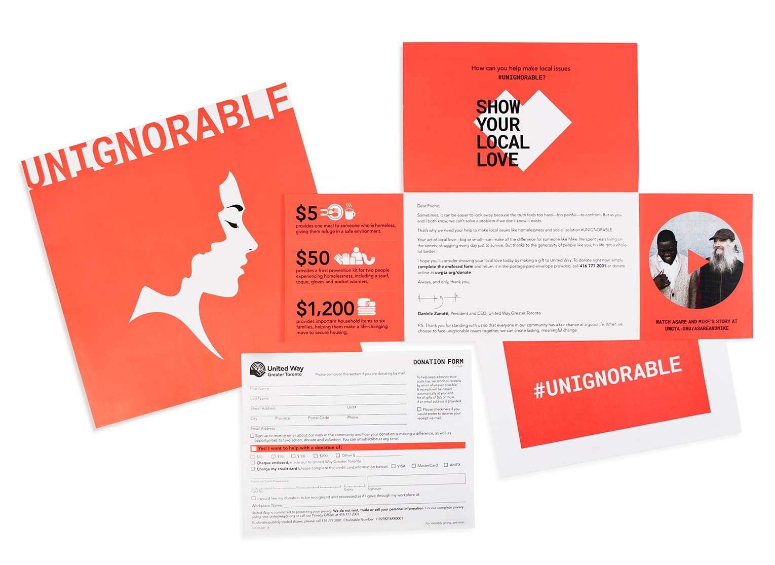 Direct mail piece for Unignorable.