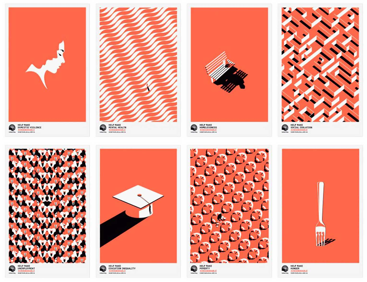 Eight pieces of artwork used in the Unignorable campaign. Each addresses an issue that affects Canadians in every community: domestic violence, mental health, unemployment, homelessness, education inequality, social isolation, poverty and hunger.