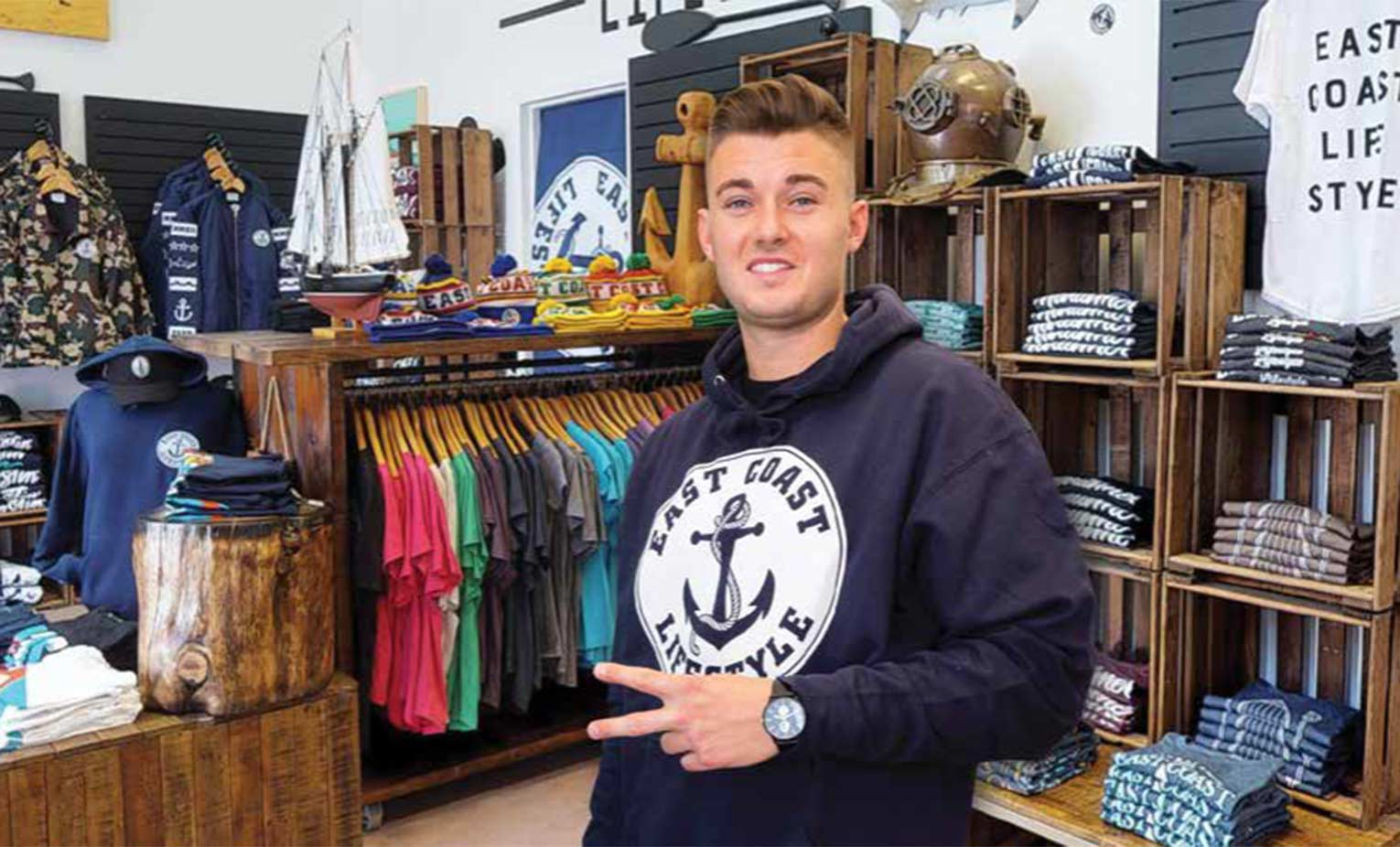Alex MacLean, founder of East Coast Lifestyle, wearing an East Coast Lifestyle hoodie.