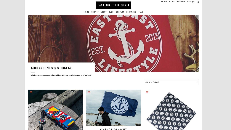 Image de la page d'accueil de la boutique en ligne East Coast Lifestyle.