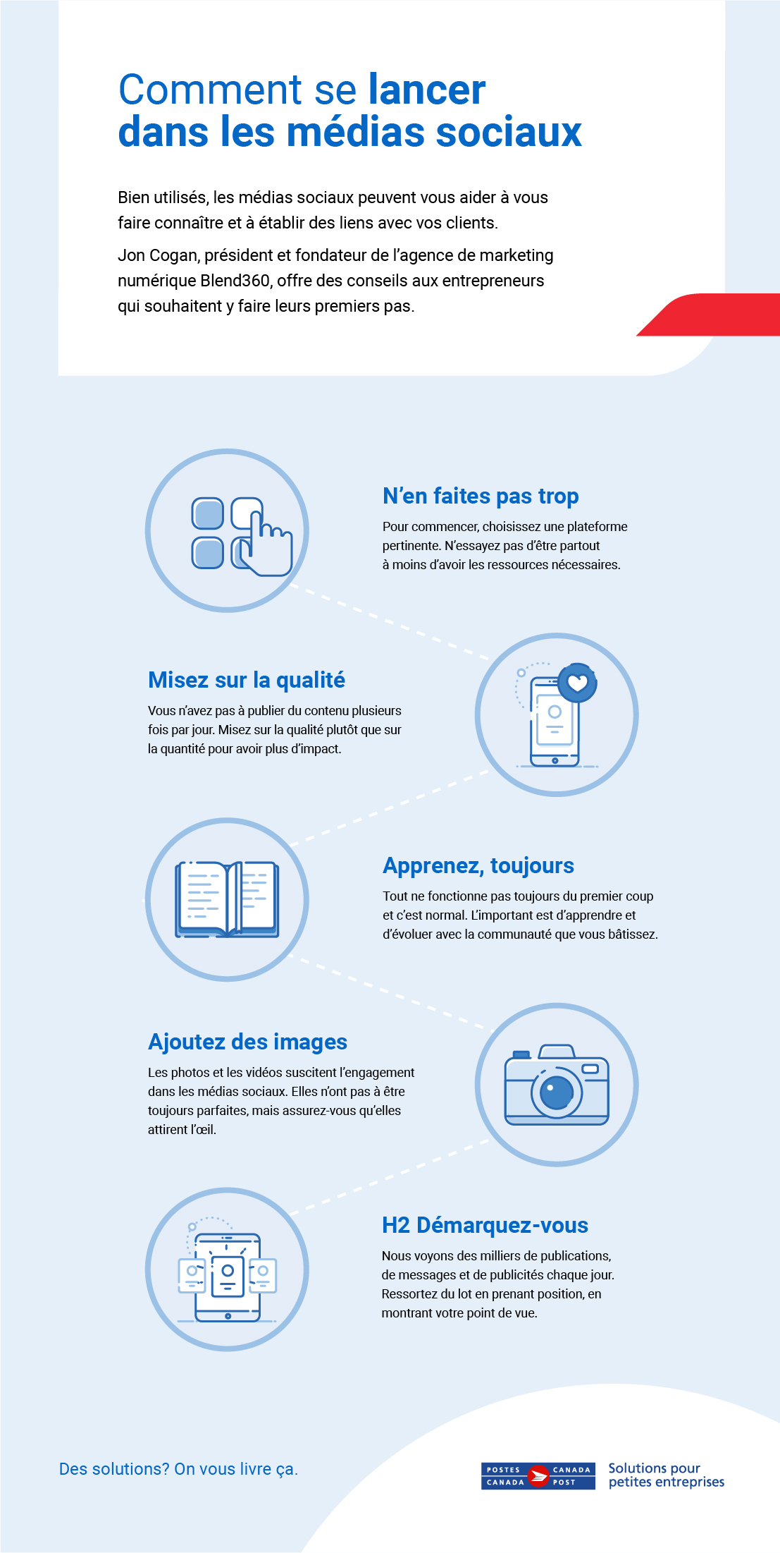 Téléchargez notre document PDF, Comment se lancer dans les médias sociaux, et obtenez 5 conseils pour établir votre présence dans les médias sociaux.