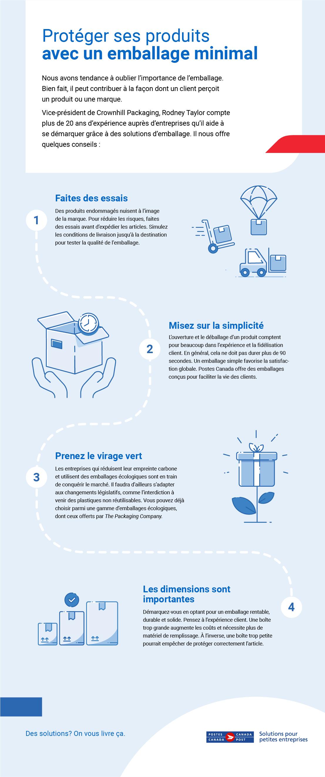 Téléchargez notre document PDF, Protéger ses produits avec un emballage minimal, et obtenez 4 conseils qui vous aideront à emballer et à protéger vos produits sans les suremballer.
