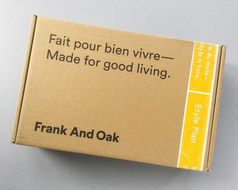 An image of a branded package from retailer Frank and Oak.