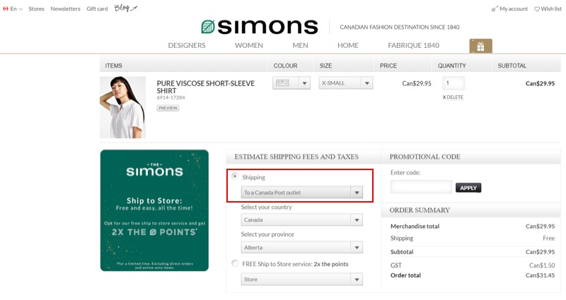 The shipping selections offered by clothing retailer Simons.