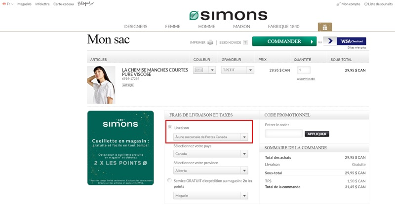 Options de livraison du détaillant de vêtements Simons.