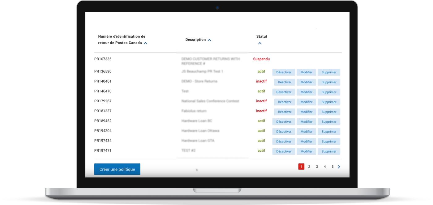 Le tableau de bord de gestion des retours affiche l'état de tous les retours en cours.