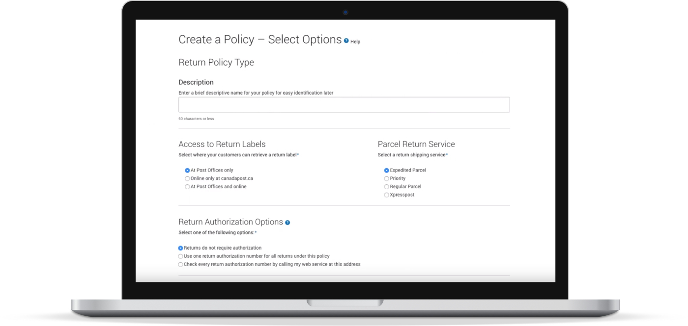 The 'Create Returns Policy' page allows you to create your returns policy for instant integration into your website.