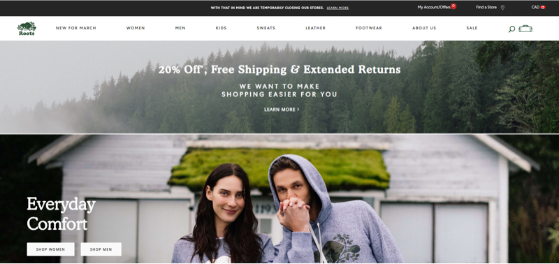 A banner on Roots' website promotes the retailer's free shipping and extended returns policies.